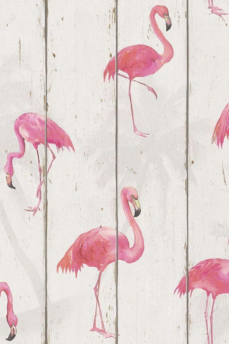 Fabulous wood panel flamingo wallpaper design.