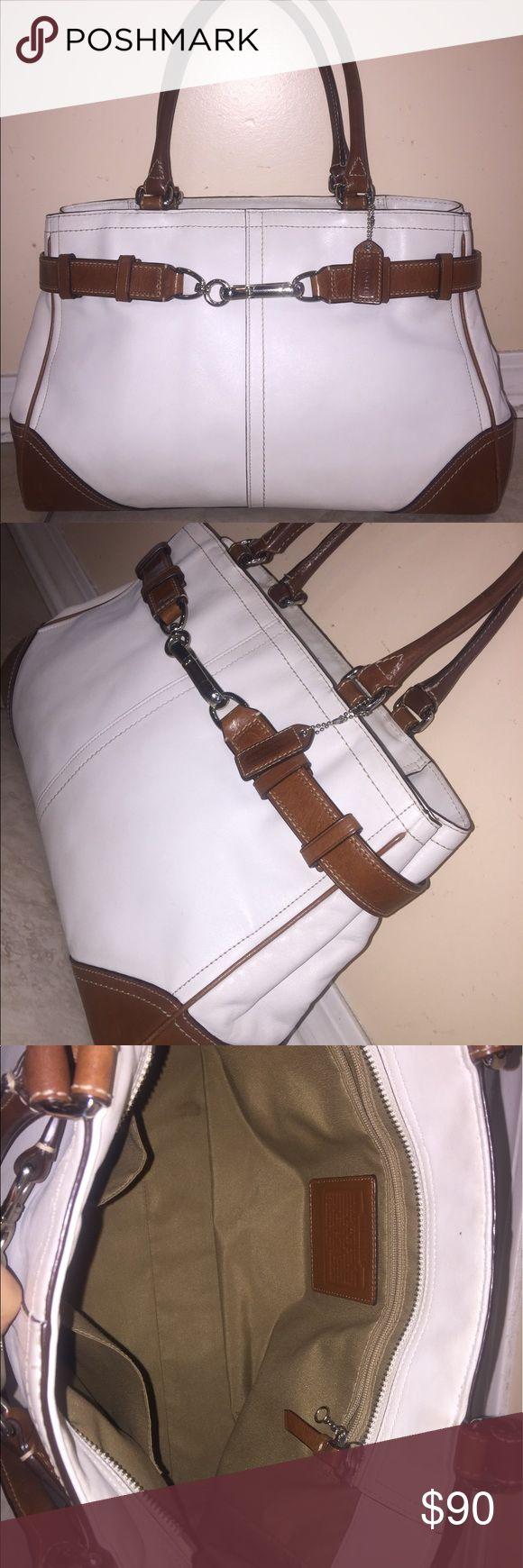 Coach leather handbag Authentic Coach handbag in excellent condition. White color with brown trims. Coach Bags Satchels