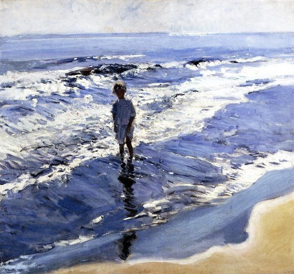 Joaquin Sorolla y Bastida (1863 – 1923, Spanish)  Young Girl In A Silvery Sea