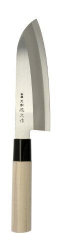 Kotobuki Teruhisa Santoku Japanese Kitchen Knife by Kotobuki. $20.08. Made in Japan. Traditional Japanese shape. Stainless steel. Magnolia wood handle. Traditional Japanese craftsmanship. Sword making history in Japan dates back over 1,000 years, when master sword smiths practiced their craft making weapons for warriors. Modern Japanese kitchen knives are a descendant of these renowned swords, as evidenced in the details, ideals and spirit that have been passed down through...