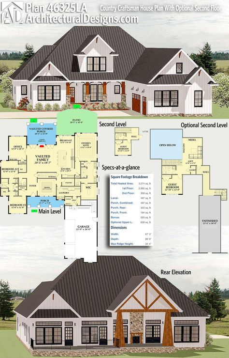 *****Architectural Designs Craftsman Plan 46325LA gives you over 3,200 square feet of heated living space, 4 beds and 4 baths with an optional second floor layout (+659 sq. ft.)