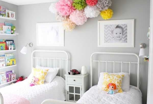 Space saving bookshelves & shades of white decor with pops of color for a small bedroom~