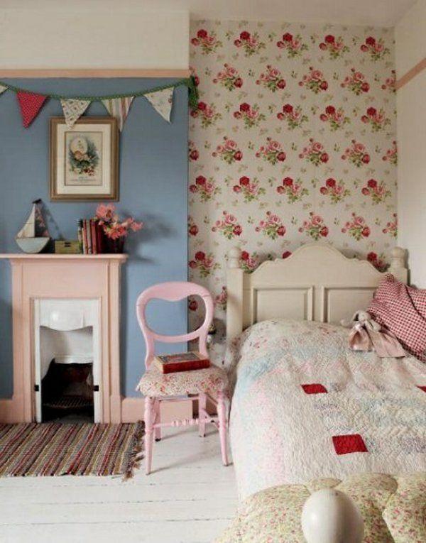rosentapete schlafzimmer country stil einrichtung