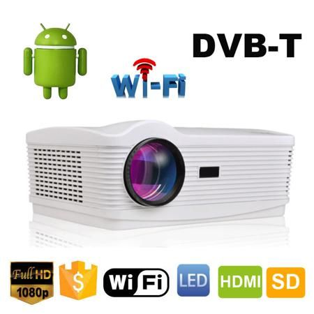 5500Lumens oley Best Android 4.4 Wifi Smart 1080P Full HD DVBT Digital TV Proyector Home lcd Beamer Led 3D Projector  — 18856.98 руб. —