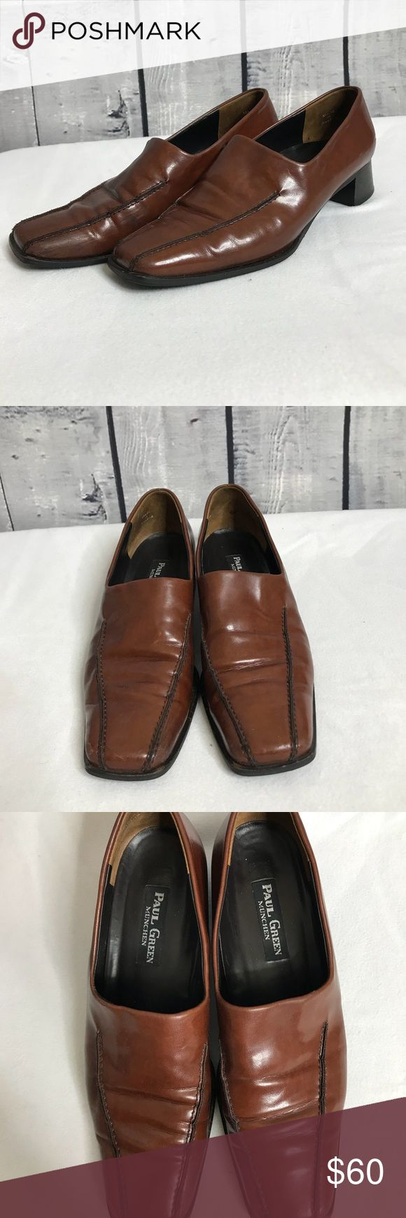 Vintage ⚜️ Paul Green Handmade Leather Shoes Beautiful soft and very comfy!  These slip on shoes have some Flaws in the front, (see photos) but they have a few years left in them!!  Beautiful mahogany color.  Size is 5.5 = 7.5 (tried them on and if you are 7.5 they fit you!) Paul Green shoes are made to last, this pair is made in Austria. They are one piece of leather only one seem!!  Amazing construction.   Amazing price given these puppies go for over $150  Make me an offer ☺️🤝 Paul Green…