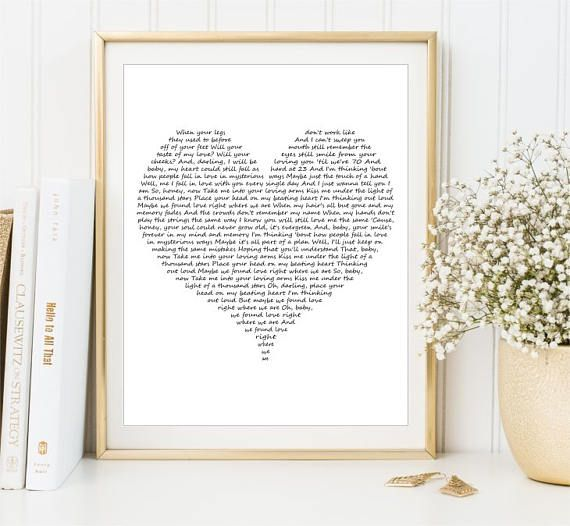 Our song lyrics print Love Song Lyrics Wall Art Custom