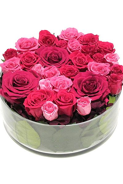 Preserved flower Pink プリザーブドフラワー ガラスアレンジメント ピンク http://www.fleuriste-glycine.jp/
