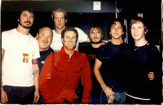 (left to right) Dave Grohl, Kyle Gass, Josh Homme, Will Ferrell, Jack Black, Eddie Vedder and Beck.