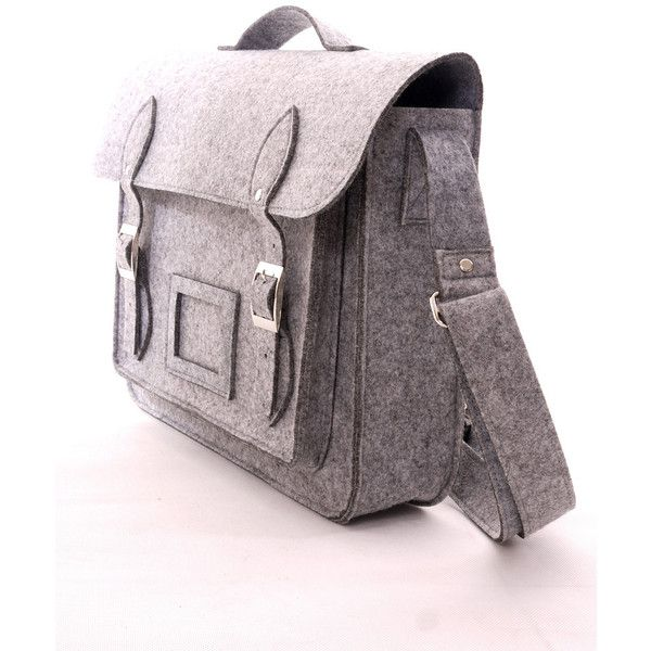 Felt Old School Satchel in Grey ($60) ❤ liked on Polyvore