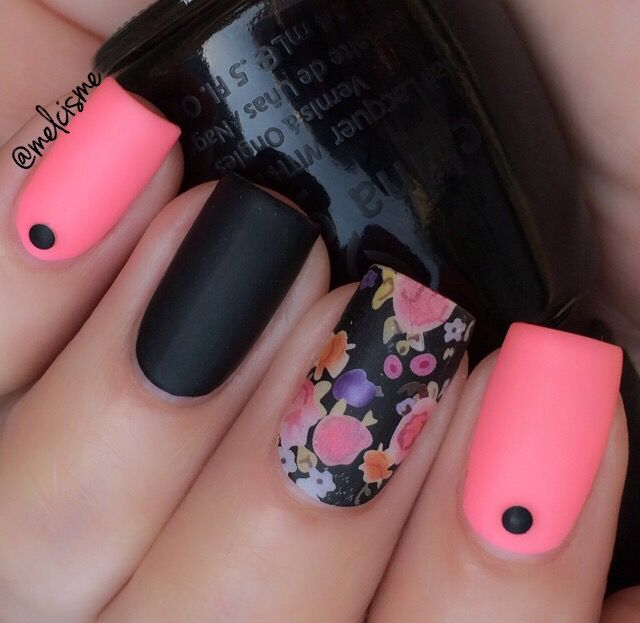 Black & pink matte with a floral accent