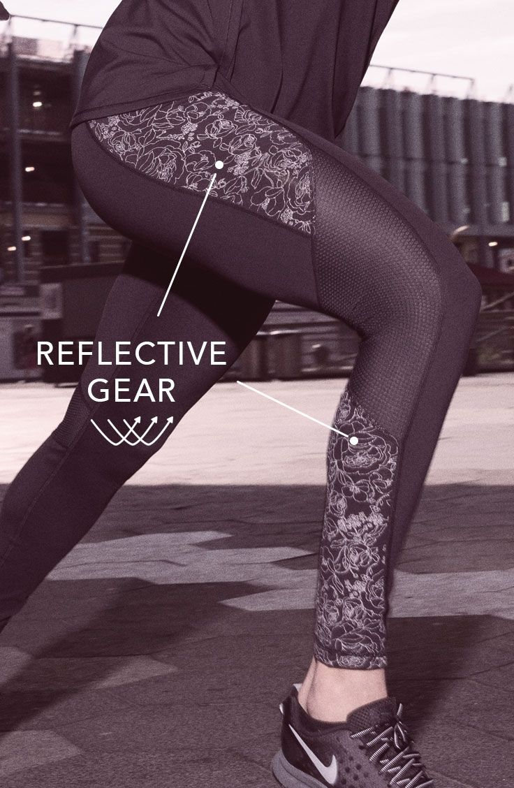 The reflective print piecing in our Journey Printed Reflective Running Tights improves visibility and adds bold style. | CALIA by Carrie Underwood