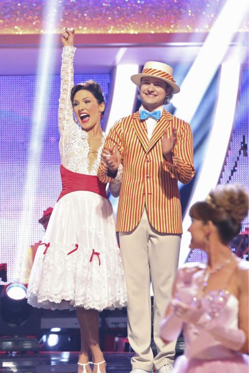 Charlie White and Sharna Burgess react to being safe from elimination on week 5 of 'Dancing With The Stars' season 18 -- Disney Night -- on April 14, 2014. They received 37 out of 40 for their 'Mary Poppins'-themed Jazz routine.