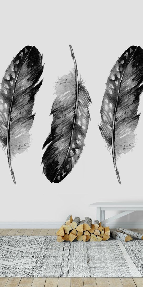 Three Feathers Black And White Wallpaper Wall Murals Wallpapers Vintage Mural Wallpaper