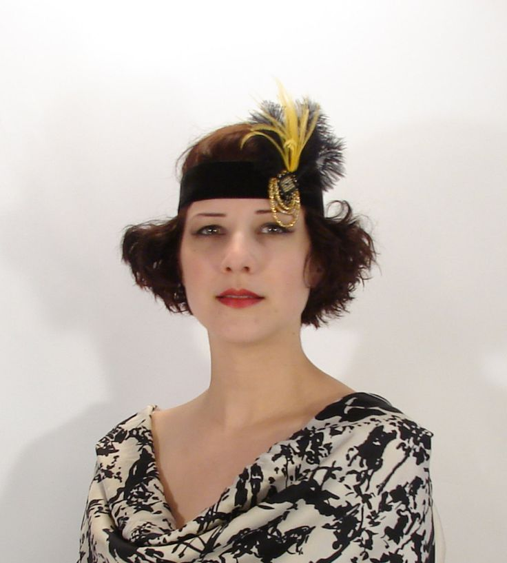 Gatsby Headband Flapper Ladies Velvet Beaded Fascinator FH01 by littlehats on Etsy