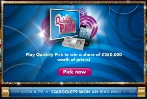 Play Quickity Pick for FREE every day to win TV's, mini iPods and cash prizes :)