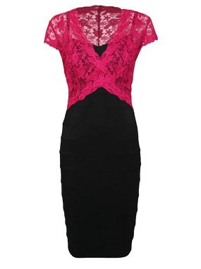 Farb-und Stilberatung mit www.farben-reich.com - Alexon Black and pink lace top ottoman dress Black - House of Fraser
