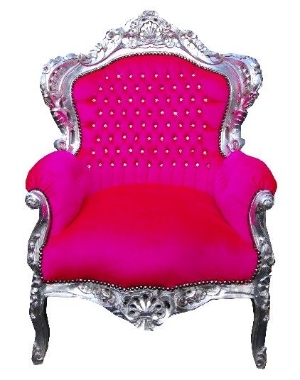 Vintage Style Shabby Chic French Hot Pink Throne Chair