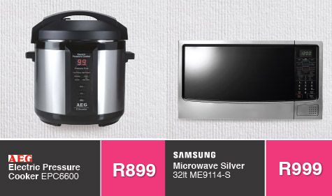 ‪#‎savehyperonline‬ specials not to be missed. ‪#‎Samsung‬ microwave, ‪#‎aeg‬ pressure cooker and more. Shop now >>> http://savehyperonline.co.za/