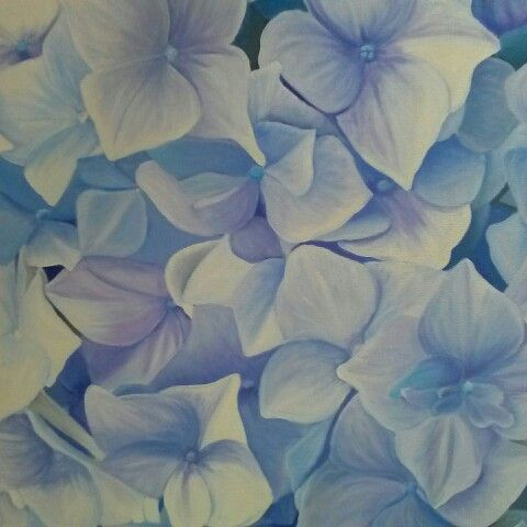 Blue hydrangea original oil painting by Tracey Hall