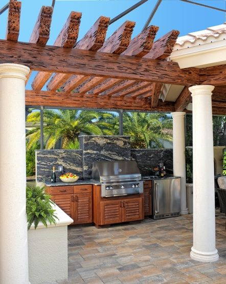 Our beautifully crafted outdoor kitchens are constructed of revolutionary ResinKast® material that simulates the look and texture of real cypress wood and requires no maintenance or refinishing. Our exclusive line offers a large selection of architectural elements: beams, planks, crown moldings, fireplaces, etc. Our designs are limited only by your imagination.