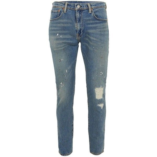 TOPMAN Levi 512 Blue Slim Tapered Jeans (€125) ❤ liked on Polyvore featuring men's fashion, men's clothing, men's jeans, blue, mens mid rise jeans, mens blue jeans, mens tapered leg jeans, mens straight jeans and mens tapered jeans