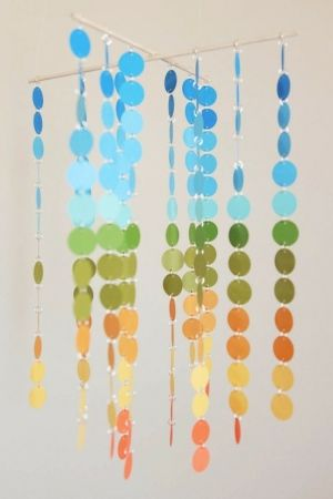 This is a great idea! Who doesn't have leftover swatches?! paint chip mobile