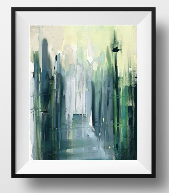 An original watercolor and mixed media cityscape painting. Abstract shimmering daylight, hand painted, watercolor, mixed media, light green, light