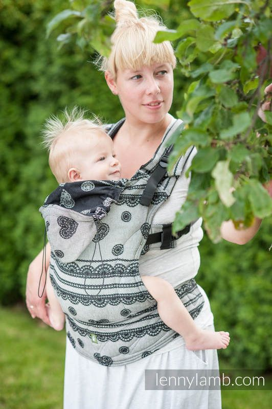 ERGONOMIC CARRIER, BABY SIZE, JACQUARD WEAVE 100% COTTON - WRAP CONVERSION FROM GLAMOROUS LACE, REVERSE - SECOND GENERATION