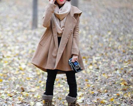 Camel Hoodie Wool cape winter coat. $109.00, via Etsy.
