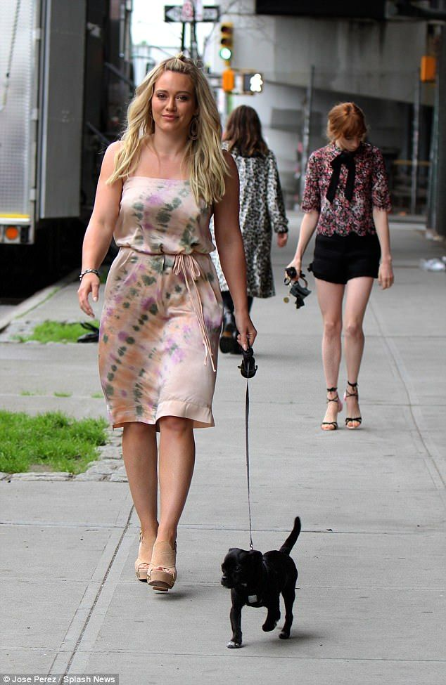 Pretty in pink: Hilary Duff has been wearing one cute dress after another as she films her...