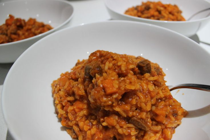 Beef and tomato risotto