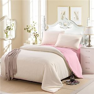 Crème Couleur Coton Housse de couette ensemble 4 pièces Costume Comfort Simple moderne double pleine grandeur et reine taille de lit