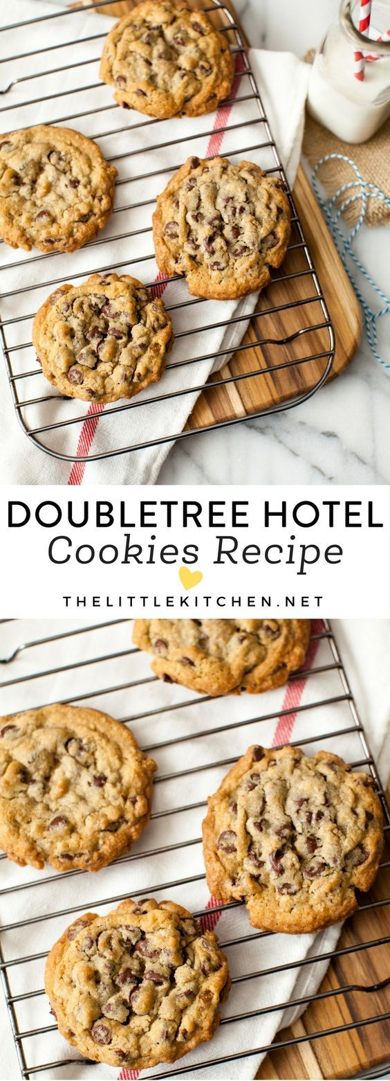 DoubleTree Hotel Chocolate Chip Cookies. Omg this was so decadent tasting. One word to describe this is a mixture between two different types of cookies. Very impressed with this recipe. I've never had a Double Tree Cookies before so I can't compare it to the original.