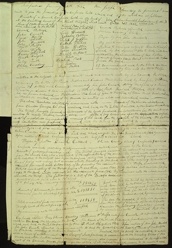 In November 1831, Oliver Cowdery and John Whitmer left Ohio with manuscript copies of the revelations that would constitute the Book of Commandments. Three weeks after their arrival in Missouri, a conference was held in Kaw Township. As conference clerk, Cowdery took minutes, which he conveyed by letter to Joseph Smith shortly thereafter.