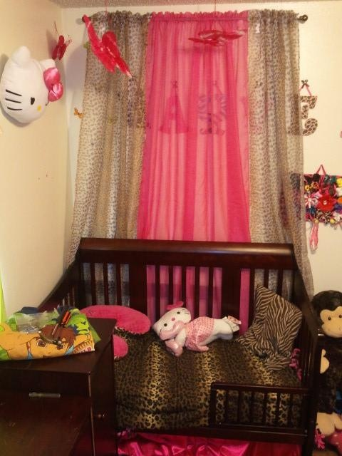 hayven's room is coming together.. Pink. Leopard. brown zebra. Hello kitty. Toddler room
