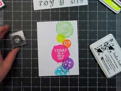 http://youtu.be/N0I-wovveUc  stamping with overlapping Hero Arts neon colors