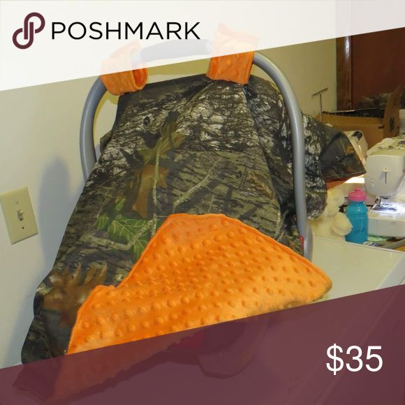 Camoflauge Orange Minky Canopy Car seat Cover Camoflauge Canopy Cover with soft orange Minky backing! Handmade item, super cute Other
