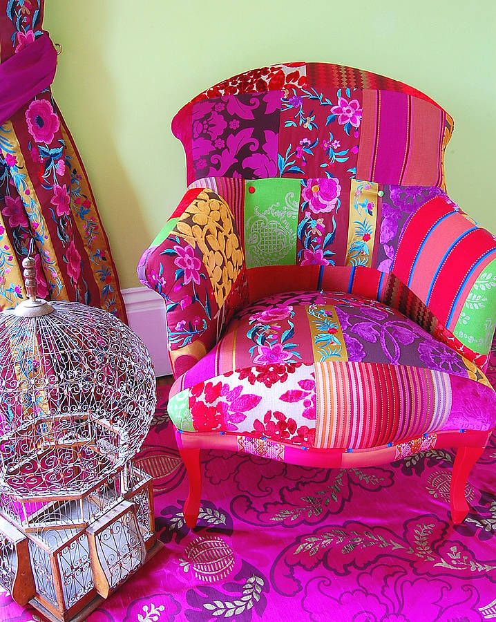 WOW, now that's pink!  Pushkar Patchwork Chair.  Too much with the rug and drapes, but as a stand alone chair, it would be great in a bedroom.