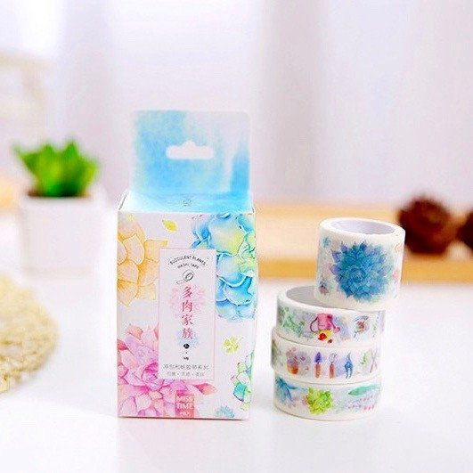 4 washi tape - Succulent paradise - kawaii stationary decorative tape