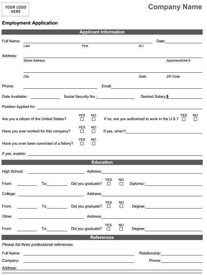 Job Application Form Pdf Download For Employers Employment Application Job Application Template Job Application Form
