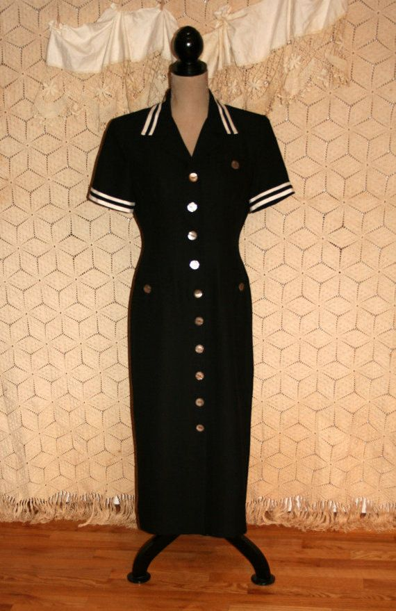 Black Fitted Sailor Dress ~ This smartly tailored dress is from Jessica Howard. The dress is fitted and makes a beautiful silhouette. The dress is
