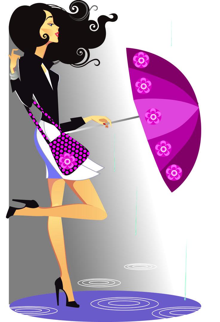 Mujer gotas de lluvia y paraguas, imagen en todos los formatos posibles: vectoriales, JPG, PSD PNG de fondo transparente. Descarga gratis.