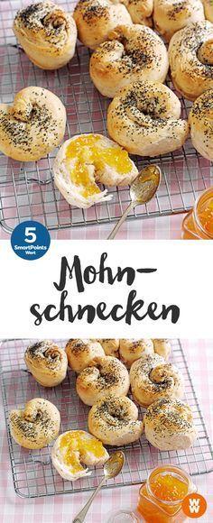 Mohnschnecken | 8 Portionen, 5 SmartPoints/Portion,Weight Watchers, Frühstück, in 25 min. fertig