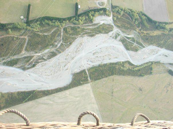 Waimakariri River as seen while hot air ballooning.  www.globalculture.co.nz