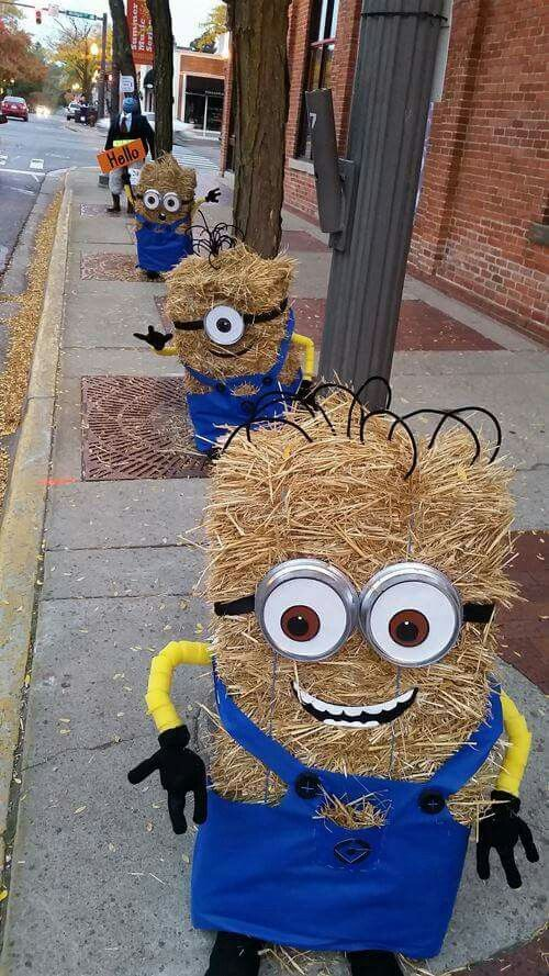 Minion Scarecrows - This haystack idea if a fun concept for Halloween decorations if you have little kids who love Minions and the holiday, but get scared by traditional decor.