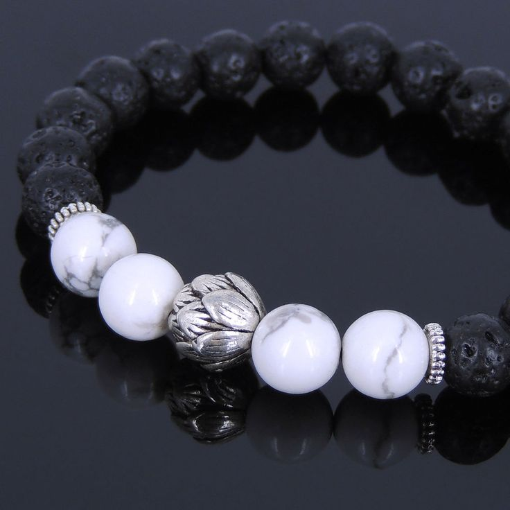 Men's Women Lava Rock White Howlite Bracelet Tibetan Silver Lotus Spacers T084 #Handmade #Beaded