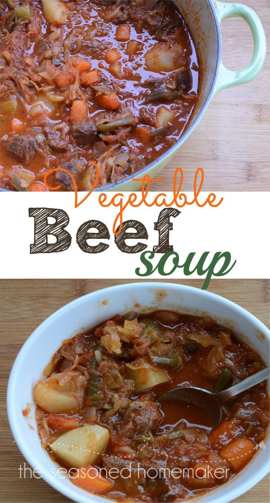 This hearty Vegetable Beef Soup warms you twice. Once while it simmers on the stove and once when eaten.
