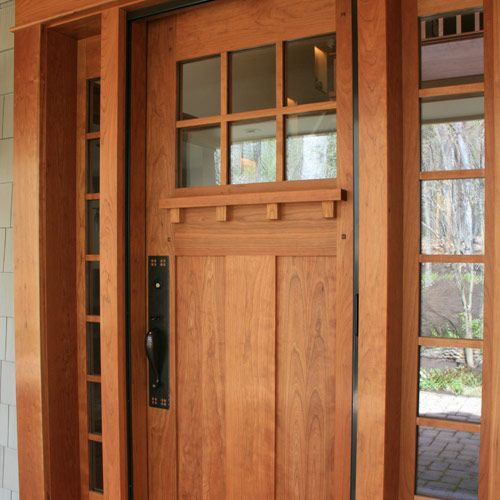 Craftsman door with a teak stain.
