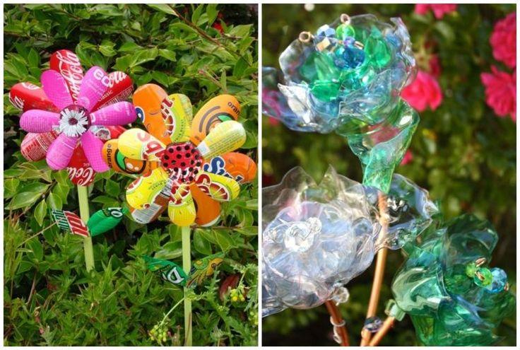 Blumen aus plastikflaschen als gartendeko im beet garten for Dekostecker garten