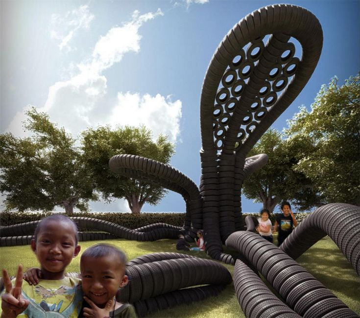 tire art on the playground | Proposal for a playground made of tires called RubberTree. (Courtesy ...